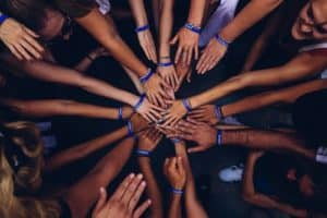 A bunch of hands together