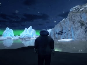 Man standing in northern lights in middle of screen