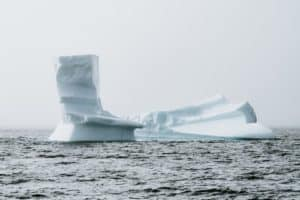 Icebergs in the middle of a lake