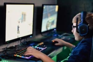 boy playing a game on the computer