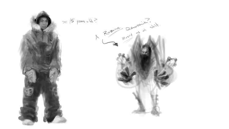 concept art of qalupalik and the main character