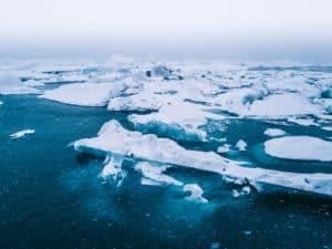 icebergs on open water