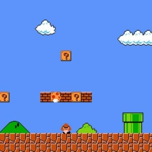 Graphic showing a level created in Mario Maker