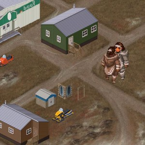 Pixel art of a community with throat singers.
