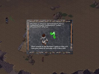 """Screenshot of an Inuit Myth found in the 'Night' map. """"Don't whistle at the Northern Lights or they will take your head off and play with it like a ball'"""