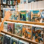 Comic books on a shelf.