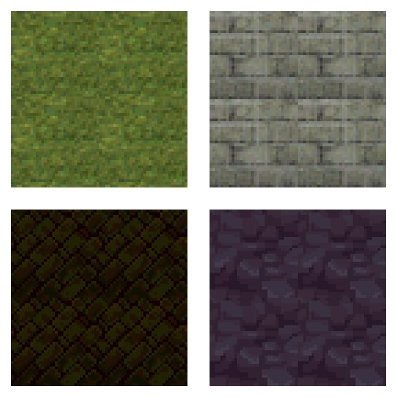 Seamless tiles of grass, bricks, tiles and rocks from Playstation