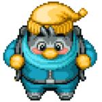 A pixel art character.