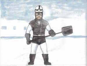 Drawing of a man holding a shovel in snow by Andrew Kannik