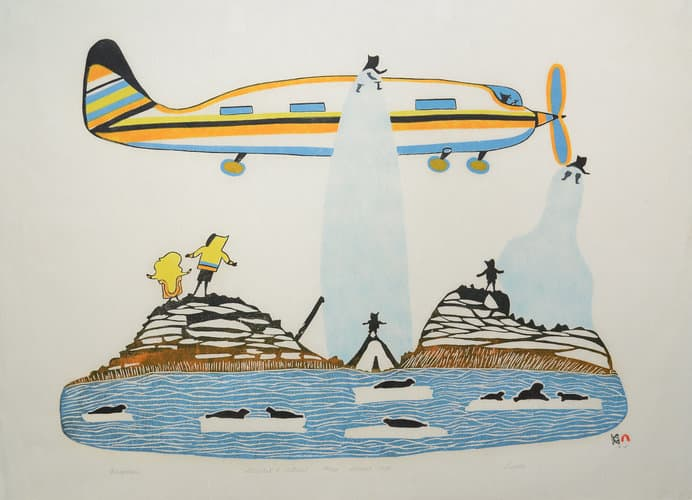 indigenous artwork of a plane and a people standing on land