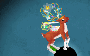 a deer with different colours on their antlers on a blue background