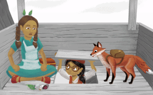 one girl coming out of the floor with another girl sitting on the floor with a fox