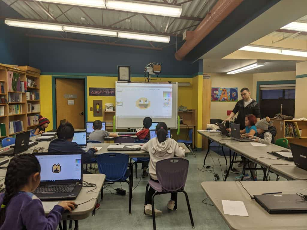 students in a classroom learning about graphicsgale