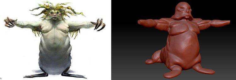 Walrus qalupalik drawing vs 3D model