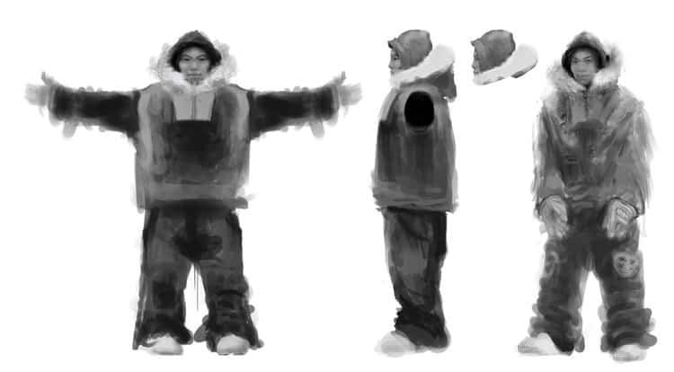 concept art for qalupaliks main character