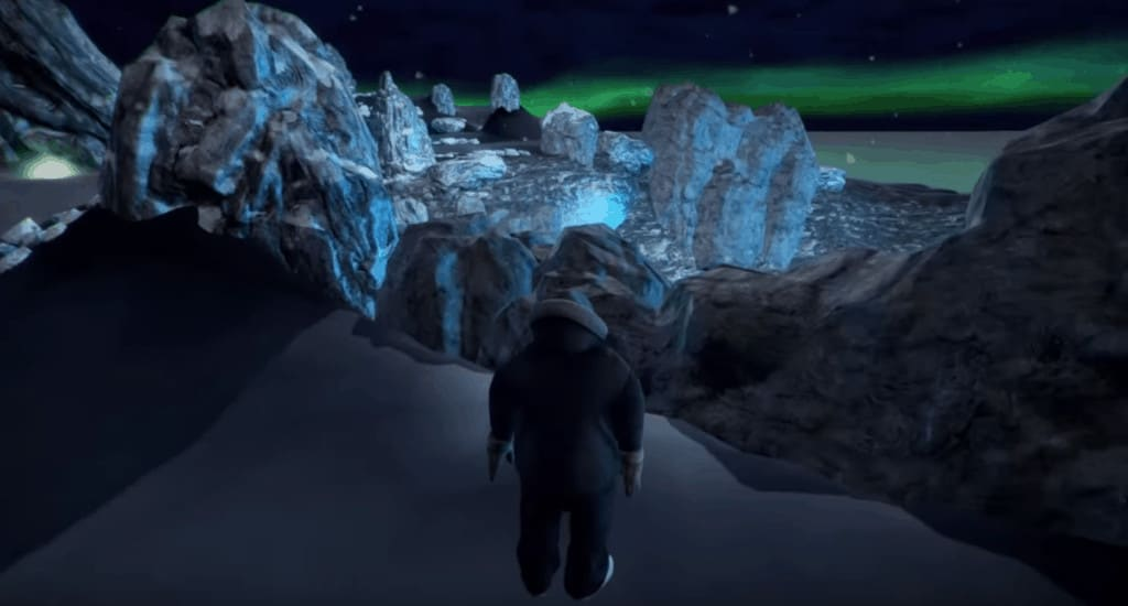 man standing in front of icebergs and northern lights
