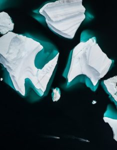 Bird's eye view of icebergs
