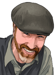 A drawn portrait of an old staff member Michael Foote.