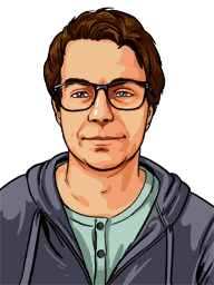An illustrated portrait of Ryan- meet our team.