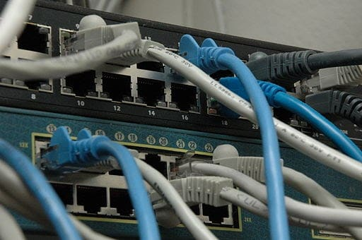 Ethernet cables plugged into Ethernet ports for wi-fi.