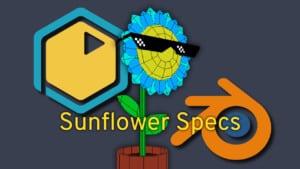 A sunflower wearing glasses in Blender.