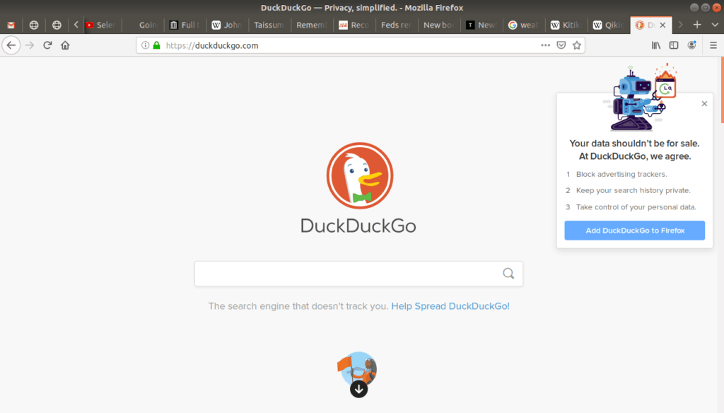 Duckduckgo's main page open on browser.