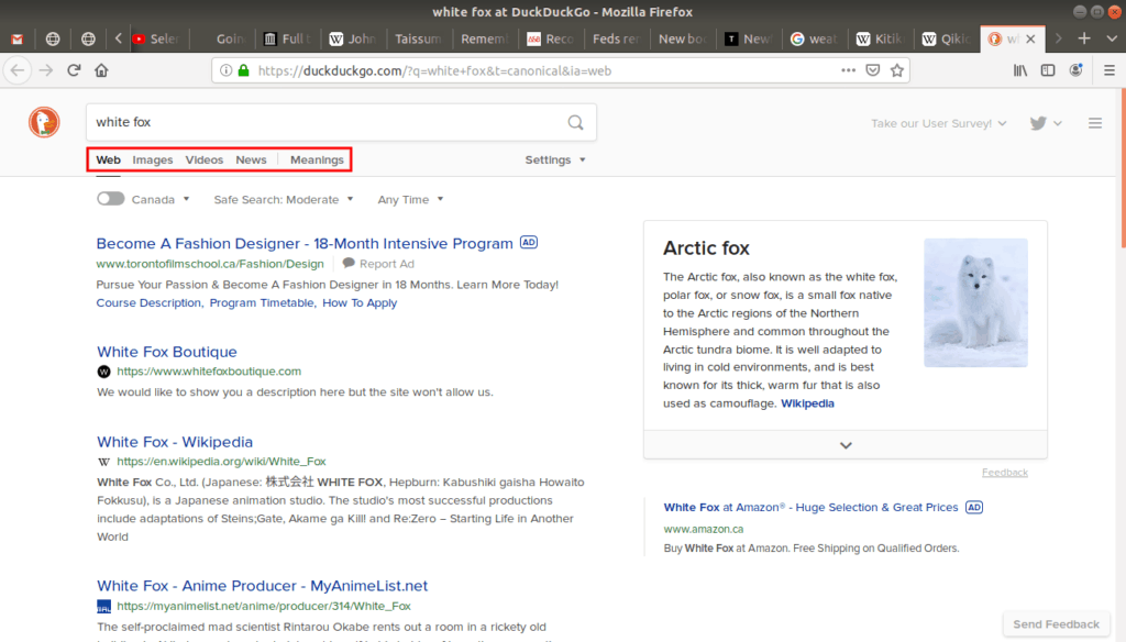 Tab options located on duckduckgo's search engine.