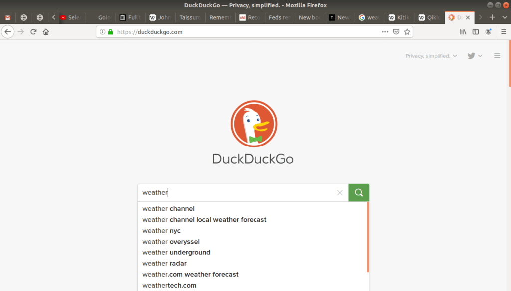"""""""weather"""" typed into duckduckgo's search bar."""