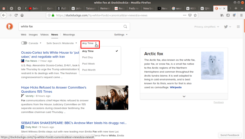 """Filter """"anytime"""" menu open on duckduckgo."""