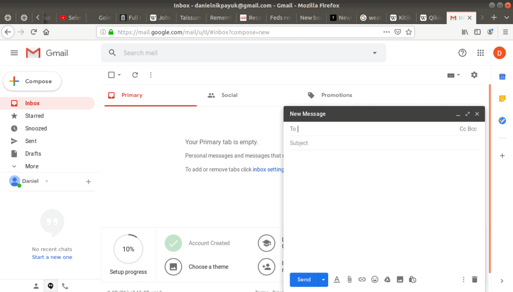New email being written on Gmail.