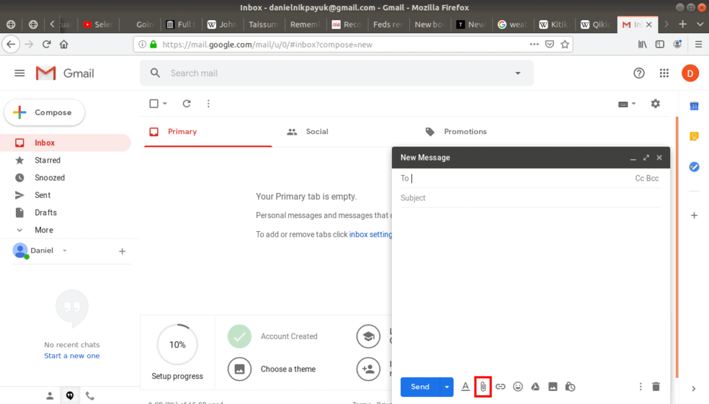 attach files button highlighted in a new email.