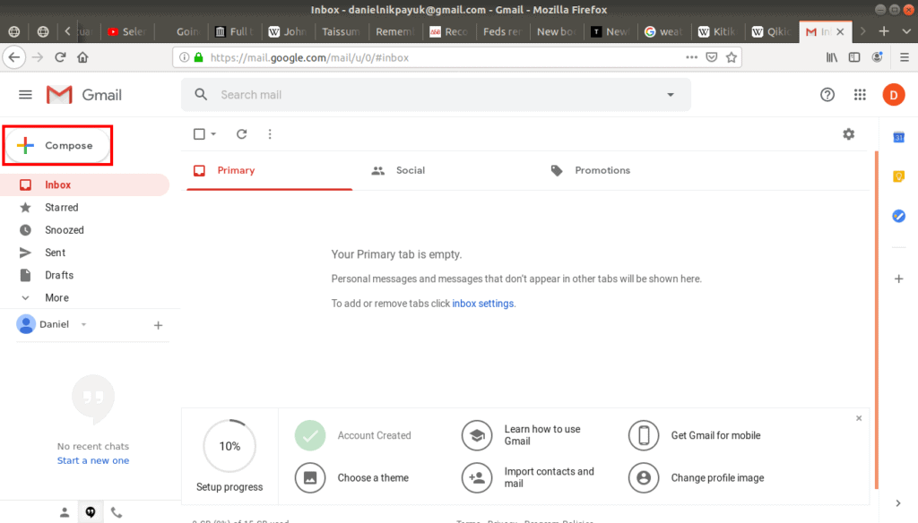 Compose button highlighted on Gmail.