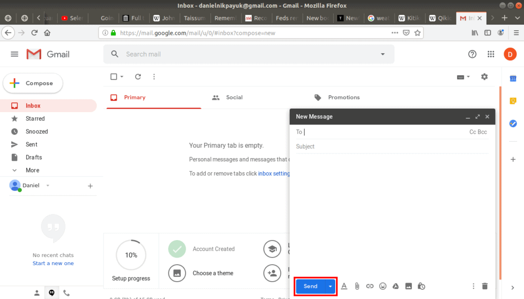 send button highlighted in a new email.