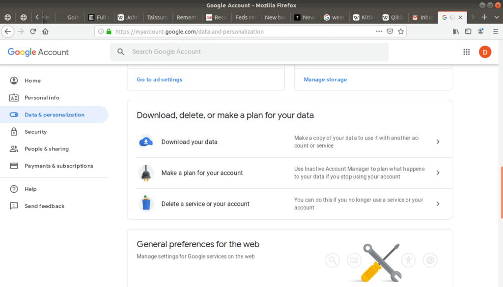 Delete your account option located in data & personalization menu.