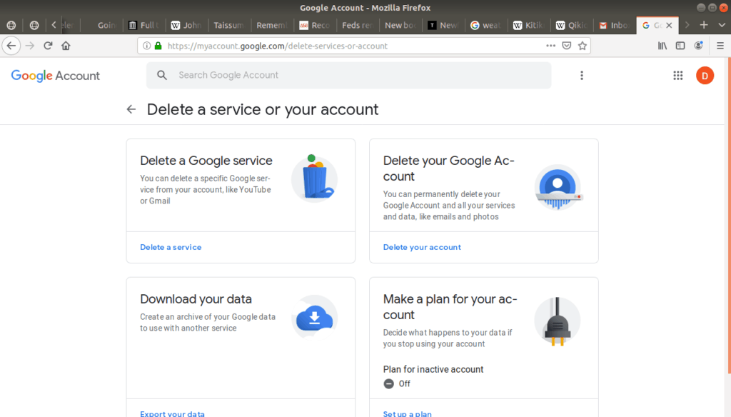 Delete a service or your account open in Gmail.