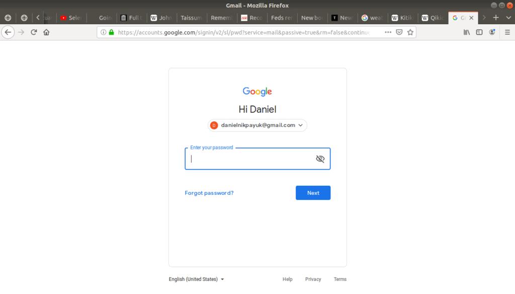 Gmail's login page open requiring password login.