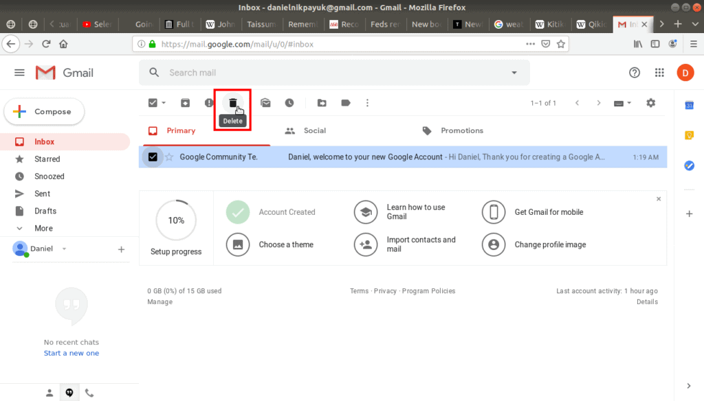 Delete button on tool bar highlighted on Gmail.