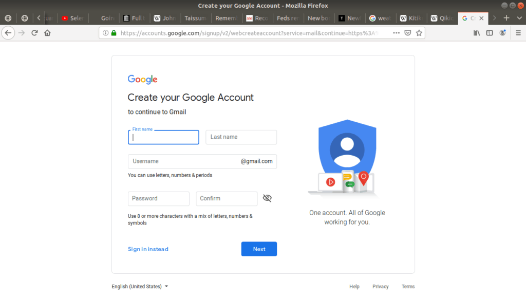 Create your Google Account open asking for information.