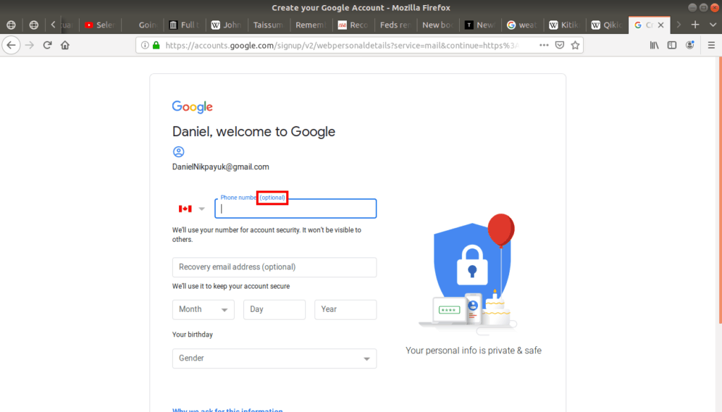 Phone number (optional) highlighted on Gmail.