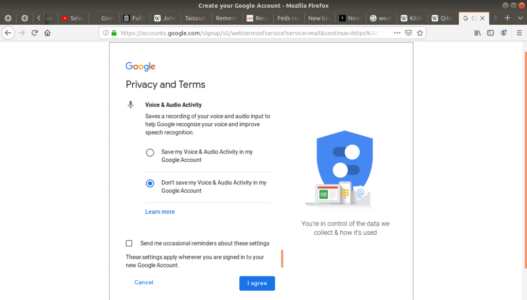 """Privacy and Terms """"voice and audio activity"""" option open on Gmail."""