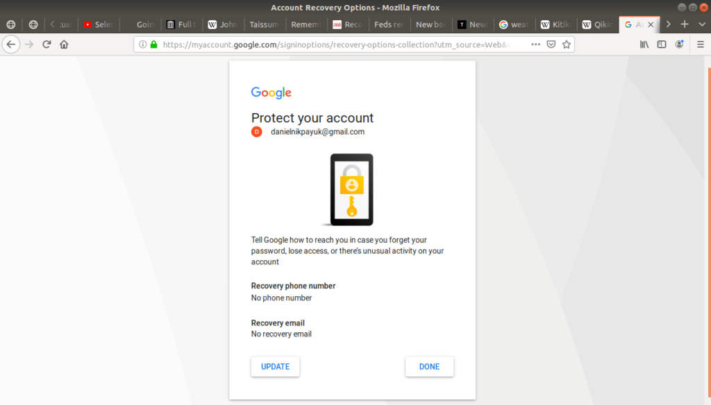 Protect your account open on Gmail's login page.