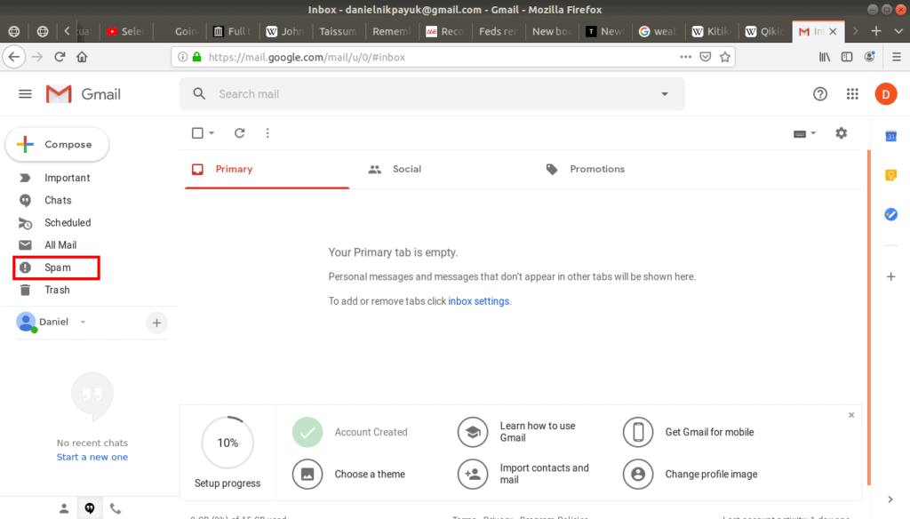 Spam folder highlighted in Gmail.