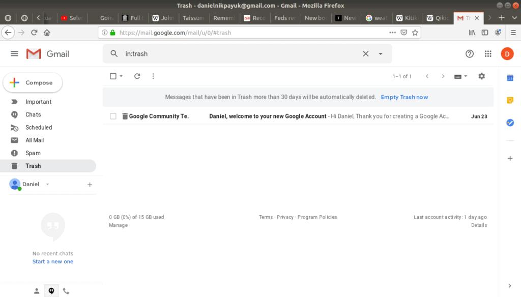 Trash folder highlighted in Gmail.