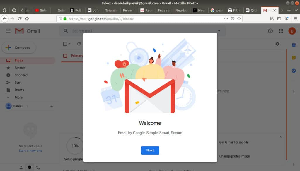 Welcome to Gmail box open.