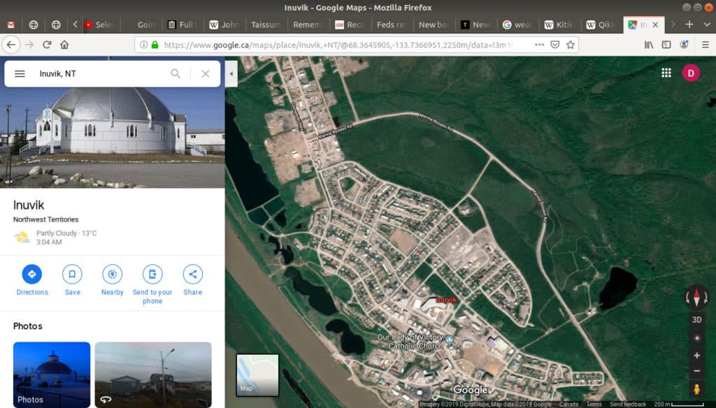 The satellite view being displayed on google maps.