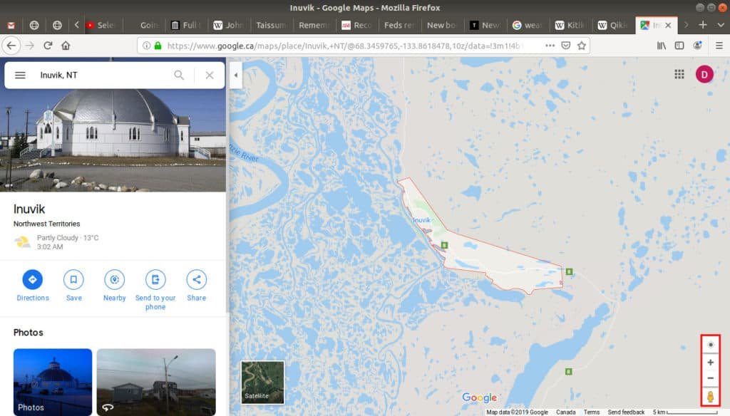 Inuvik, NT open on google maps with the zoom option highlighted.