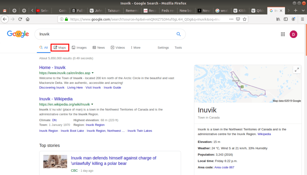 Google maps open to Inuvik.