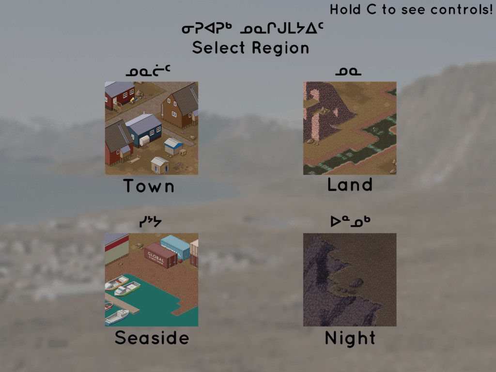 different types of terrain in Inuit mythology. Town, Land, Seaside and Night are the four options.