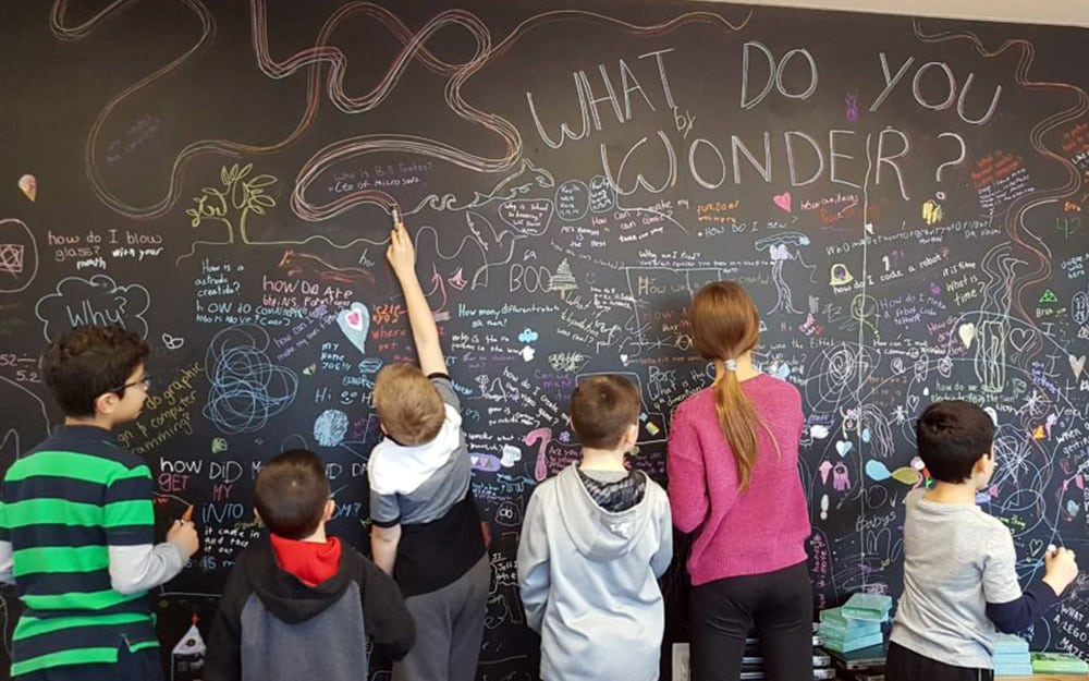 Students drawing on a chalkboard.