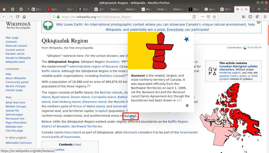 Pop ups on Wikipedia.